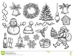 new year christmas holiday vector sketch symbols stock vector