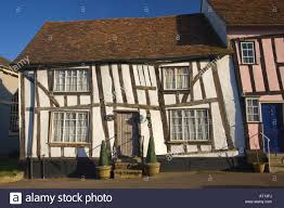 traditional timber frame house in high street in lavenham suffolk