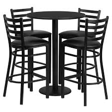 Pub Table And Chairs Set Amazon Com Flash Furniture 30 U0027 U0027 Round Black Laminate Table Set