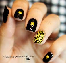 indian ocean polish yellow and black aztec design
