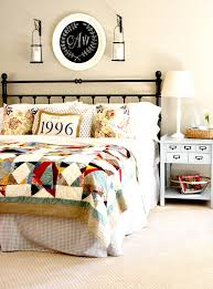 happy bedroom a patchwork quilt sets the scene for this colorful pattern happy