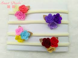 felt headbands 20pcs 4c fashion felt 3in1 flower glitter gold leaf