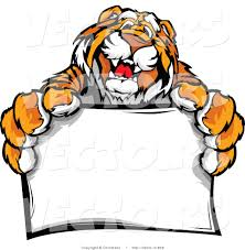 vector of a happy tiger mascot holding a blank sign by chromaco 900