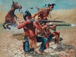 taking aim original large oil painting don pretchel native american western art