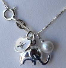 sterling silver charms necklace images Sterling silver tiny puff elephant initial birthstone charms jpg