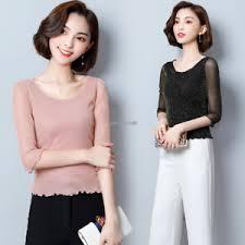 women elegant shirt long sleeve stretch mesh casual slim blouse