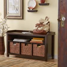Bench With Baskets Storage Red Entryway Bench With Storage Baskets Contemporary