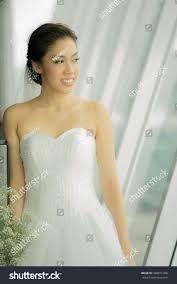 Wedding Dressing Portrait Asian Bride White Wedding Dressing Stock Photo 498871306