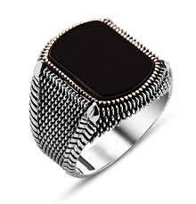 men u0027s sterling silver ottoman square black onyx fine detailing ring