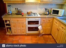 Empty Kitchen Kitchen Oven Chrome Kettle Toaster Blender Microwave Open Plan