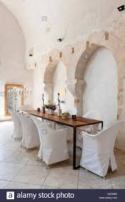 dining room in converted french chapel the floor is limestone and