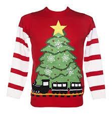 christmas tree jumper with lights unisex retro red led lightup christmas tree and train jumper from