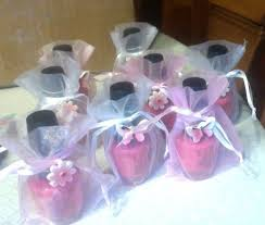 ideas for baby shower favors girl baby shower favors pink nail surrounded by a lace