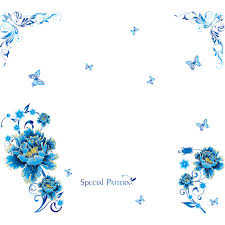 Blue Flower Vine - honc creative pvc butterfly blue flower vine wall stickers home