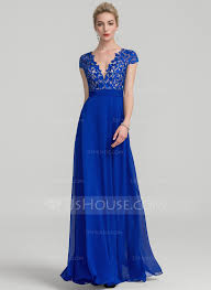 a line princess v neck floor length chiffon evening dress with