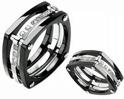 black wedding band sets black square wedding rings sets square wedding rings with diamonds