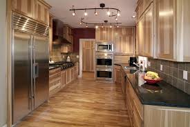 Kitchen Cabinets Solid Wood Construction Lights Installations On White Plafond Over Unstained Hickory