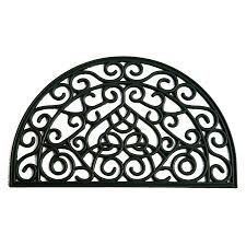 shop allen roth 30 in x 18 in black semicircle door mat at lowes