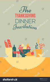 thanksgiving dinner invitation template table setting stock vector