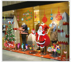Merry Christmas Window Decorations by Merry Christmas Santa Claus Tree Window Glass Sticker Super Size