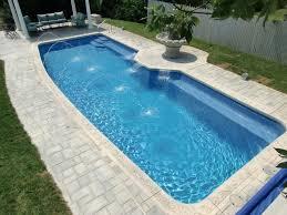 swimming pool rectangular inground pool with small fountain