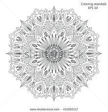 Oriental Design Flower Mandala Vintage Decorative Elements Oriental Stock Vector