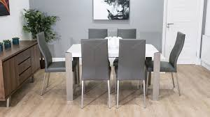 modern white gloss dining table brushed metal legs real