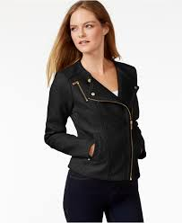 Calvin Klein Faux Leather Textured Moto Jacket In Black Lyst