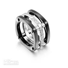 black titanium rings looking black titanium 3 band ring in 18k white gold insert