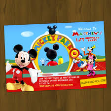 mickey mouse clubhouse printable birthday invitation card diy