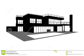 House Silhouette by Contemporary House With A Swimming Pool Silhouette Royalty Free
