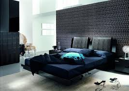 bedroom minimalist blue and black bedroom decoration using