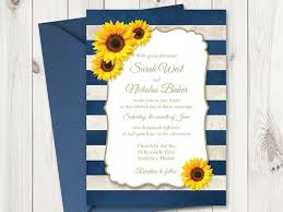 sunflower wedding invitations sunflower wedding invitation printable template with navy blue