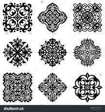 set stencil damask ornamental flourishes luxury stock vector