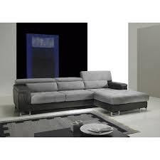 canapé d angle cuir et tissu canapé d angle cuir et tissu gris fabien angle à droite achat