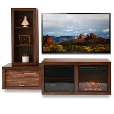 mid century modern wall mount fireplace tv console eco geo mocha