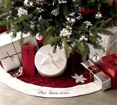 personalized tree skirt velvet tree skirt with ivory cuff pottery barn