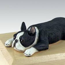 boston cremation dog boston terrier laying figurine pet cremation urn