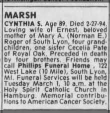 funeral plets detroit free press from detroit michigan on march 1 1994 page 12