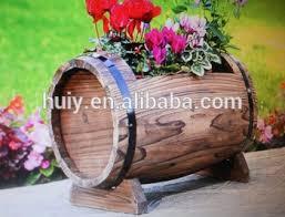 burnt wood half barrel planter solid wood rustic flower garden