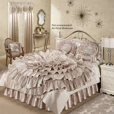 bed bedding ribbon bedspread sets in camel for bedroom ruffled romance champagne rosette bedspread sets for bedroom decoration ideas