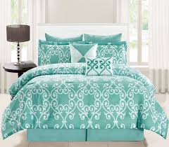 Aqua And White Comforter 8 Piece Blanca Aqua White Comforter Set