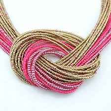 beads knots necklace images Bocar necklace tone bib gold seed beads knot chunky rose jpg