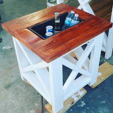 Patio Ice Bucket With Stand by Small Table With Built In Cooler Rustic X End Table
