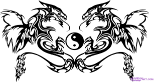 how to draw twin dragon trible art step by step tribal art pop