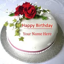 Name On Beautiful Rose Birthday Cake Images