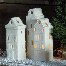 porcelain house tea light holder