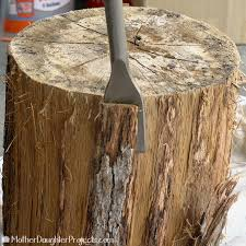How To Make A Tree Stump End Table by Modern Tree Stump Furniture Mother Daughter Projects