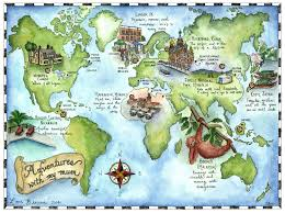 World Map Scotland by Candace Rose Rardon Hand Drawn And Illustrated Map