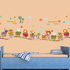 Train Decor Beautiful Train Wall Sticker Cartoon Animals Train Wall Poster For